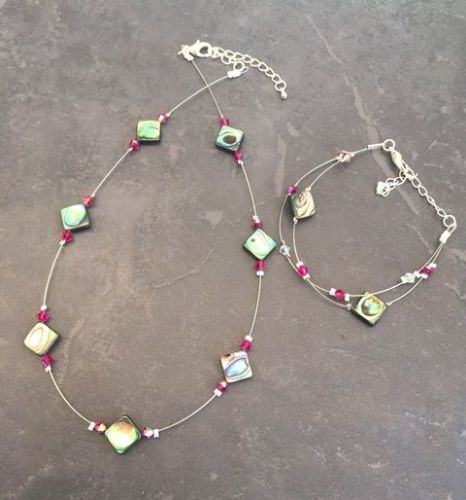 Paua & Swarovski Floating Necklace and Bracelet SET PN201
